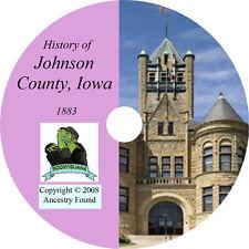1883 JOHNSON County Iowa IA - History & Genealogy - Ancestry Family  - CD DVD