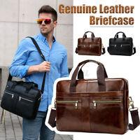 Men's Genuine Leather Shoulder Laptop Bag Handbag Business Briefcase Travel Tote