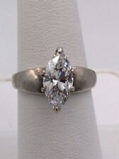 Engagement Ring Sz 6 I-7243 Sterling Silver Marquise Solitaire Cubic Zirconia