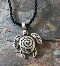 Antique Silver Plt Tribal Sea Turtle Pendant Necklace Ladies Men Gift Wildlife