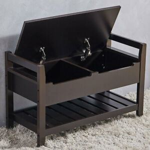 Wooden Shoe Rack Ottoman Storage Bench with Padded Cushion Seat Organizer Shelf