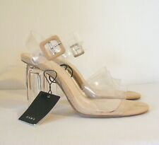 New Zara Clear Vinyl Methacrylate High Heel Sandals Size 4 37 Nude Details