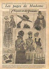 Robe Interieur Velours Ruban Manteau Mousseline Mode Fashion Croquis WWI 1916
