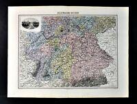 1880 Migeon Map - South Germany - Bavaria Baden Frankfurt Alps - Munich Scene