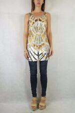 SPORTSGIRL Golden Silver Sequin Tunic Top Size XXS (6-8)