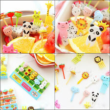 10x Kawaii Animal Fork Cupcake Food Fruit Picks Stick Bento Birthday Party Decor