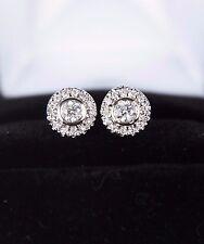 $1795 14K White Gold 0.65ct Round Diamond Bezel Set Pave Push Back Stud Earrings