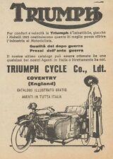 Y7877 Moto con Sidecar TRIUMPH - Pubblicità d'epoca - 1923 Old advertising