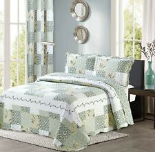All American Collection New 3pc Reversible Floral Printed Patchwork Coverlet Set