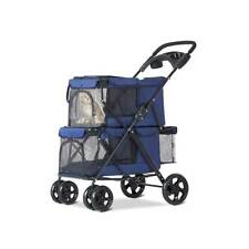 Small Dog Cat Stroller Travel Jogger Stroller Double Folding Carrier Blue