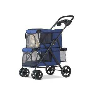 Small Dog Cat Stroller Travel Jogger Stroller Double Folding Carrier Blue