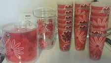 NEW Pink Floral Patio Picnic Serving 18 Plastic Tumblers Ice Bucket & PITCHER