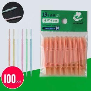 100Pcs Plastic Dental Picks Oral Hygiene 2 Way Interdental Brush Tooth Pick AB3
