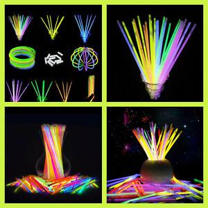 Glow Sticks Bracelets Necklaces Neon Colors Party Favors Disco Rave 10/25/50/100