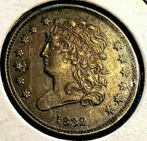 ☆ 1832 Classic Head Half Cent 1/2 C. ☆ AU CONDITION ☆ Early Copper 1/2 Penny ☆