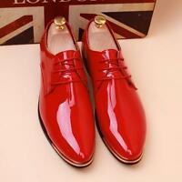 Men's Casual Pointed Patent Leather Lace Wedding Formal Dress Shoes Oxfords new