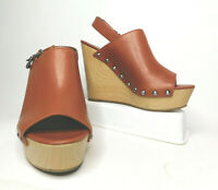 Sam Edelman Circus Clara Brown Wedge Heel Slingback Peep Toe Shoe Women Size 8.5
