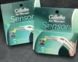 2 x Gillette Sensor For Women 5 Razor Blades Cartridges Aloe & Moisturizers