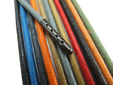 Metal Tipped 4mm Round Waxed Cotton Shoelaces - Many colours - 1 Pair Shoe Laces