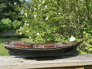 Antique Rare 19th C. Hand Made Ship Boat Model of the Schooner Helen M. Foster
