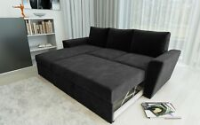 New Stanford L-Shape Corner Sofa Bed with Lift Up Storage in Black