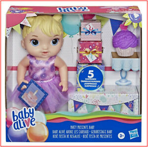 Baby Alive PARTY PRESENTS BABY Doll - CUPCAKE Presents Charms Blond Hair ❤️NEW❤️