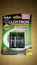 4 x Lloytron AAA Rechargeable Batteries 550 mAh. For cordless telephones. 1.2v