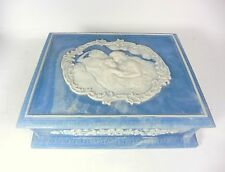 Vintage Genuine Incolay Stone Art Nouveau Style Blue Jewelry Box