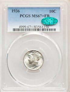 1936 P PCGS CAC MS67+ Plus FB Mercury Silver Dime Gem BU Full Bands Lustrous