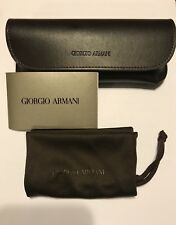 New Giorgio Armani Eyeglass/Sunglass  Leather Case Brown With Cloth Pouch