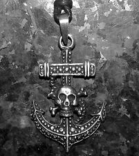 Anchor Pirate Pendant Necklace Pewter on Cord with Display packing 43mm