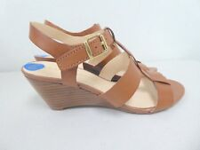 NEW FRANCO SARTO BROWN LEATHER STRAPPY WEDGE SANDALS HEELS 7.5