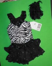 NWT Dance Costume leotard w/ruffled Faux Sequin Skirt Girls size Small Child