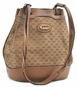 Authentic GUCCI Micro GG Canvas Leather Shoulder Hand Bag Brown D6383