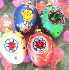 Lot of 4 vintage glass Christmas ornaments/ Egg shaped/glitter, hand painted
