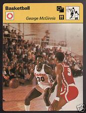 GEORGE McGINNIS Philadelphia 76ers Basketball 1977 SPORTSCASTER CARD 06-21B