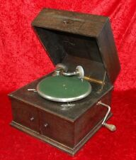 Tisch-Grammophon Kosmos + Album mit Schellackplatten