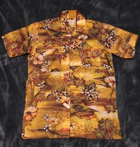 Vintage Hawaiian medium men's yellow, brown & orange floral polyester camp shirt