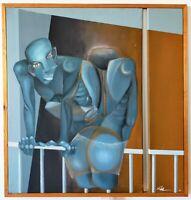 Oeuvre sur toile d' Elena Arévalo Melville 104x100 cm ( cubisme ?)