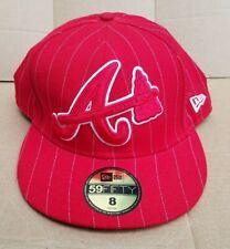 "Atlanta Braves A New Era 59 Fifty Baseball Hat Cap Size 8 "" Tomahawk Red - NEW"