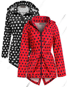 Girls Rain Mac Showerproof Raincoat Jacket Ages Size 7 to 13 Years Red Spot