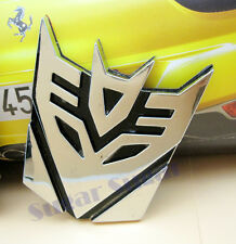 TRANSFORMERS  Silver DECEPTICON Chrome Plated Car badge