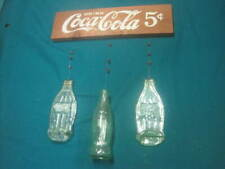 Vintage Wooden Drink Coca Cola Wind Chime With 2 Green Flat Glass Bottle Chimes
