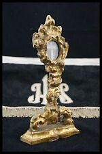 † 17TH GOLDEN WOOD MONSTRANCE D.N.J.C. RELIQUARY TRUE CROSS RELIC CRISTAL †