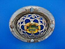 Cool Scottish Silver, Agate  00006000 & Citrine Brooch