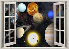 Planets Solar System Galaxy 3D Effect Window View Wall Poster Vinyl Mural 215