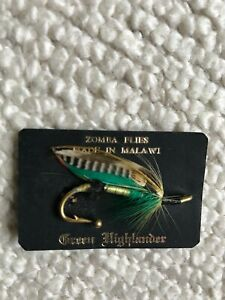 Fishing Salmon Brooch - Green Highlander Salmon Fly Brooch New