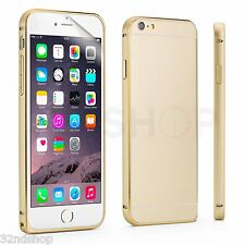 NEW iPhone 6 (4.7) Ultra Thin Gold Aluminium Bumper Case + Screen Protector
