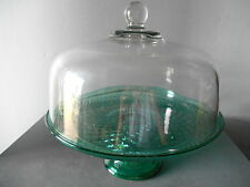 Anchor Hocking Wexford Emerald Green Cake Stand/Punch Bowl Set EUC