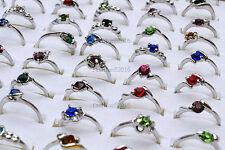 50pcs wholesale lots rhinestone silver Plated Woman Rings New free shipping